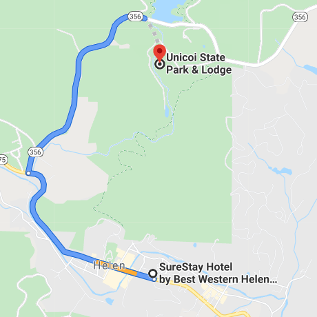 SureStay to Unicoi Map